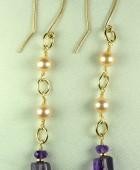 14k GF Freshwater Pearls & Amethyst Dangle